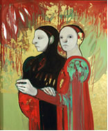 Two Figures/Black and Red, by Selina Trieff