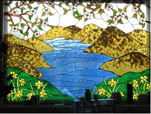 One of the many stained glass windows adorning Marsha's studio