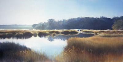 Moored on the Marsh, acrylic, Barbara Wyland