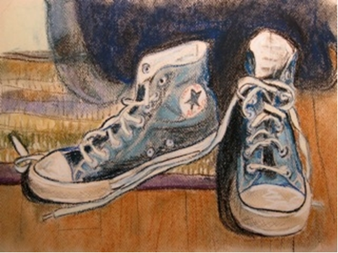 Day 35: shoes by the door, pastel, 9x12""