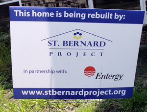 St. Bernard Project building sign outside of the homes