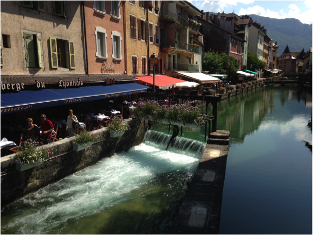 Canal-side dining Annecy