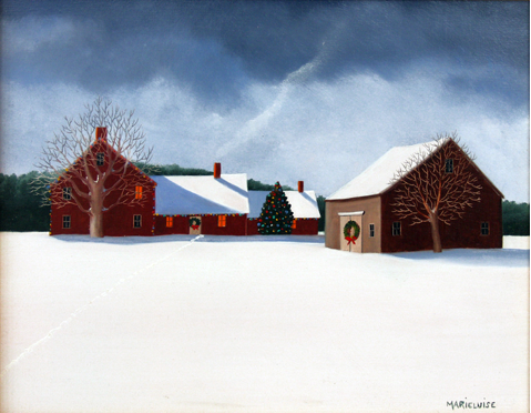 "Celebrating Christmas , oil on panel, 8 "" x 10 "", by Marieluise Hutchinson Published courtesy of Tree's Place, in Orleans [http://www.treesplace.com/] Marieluise Hutchinson's work can also be found at J. Todd Galleries in Wellesley www.jtodd.com"