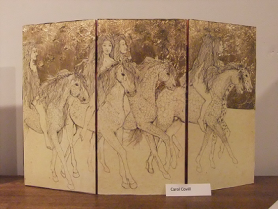 Godiva Society, Pen and Ink with Gold Leaf, by Carol Covil