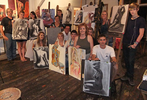 Sarah's students with the artwork they created in under two hours