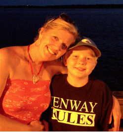 Will with his Mom, donning her heart-shaped shell necklace. Photograph courtesy of Jonnie Garstka