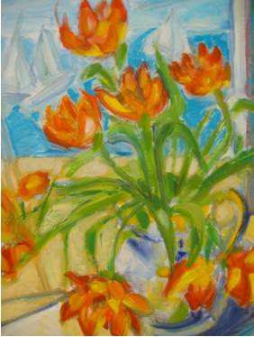 Tulips By the Bay, oil on canvas