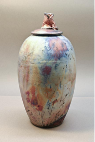 Raku Fired Urn, by Daine Heart