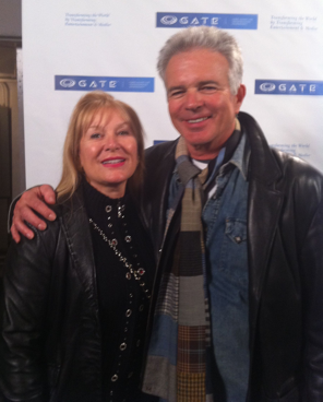 Kathy Kanavos with actor Tony Denison at Gate II Photograph courtesy of Peter Kanavos