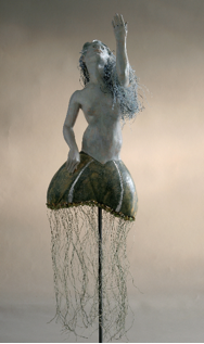 """Ascending Sea Nymph"", polychrome terra cotta/ mixed media, 2005, Heather Blume Image courtesy of Diane Worthington"