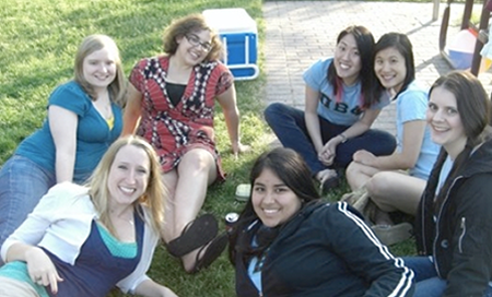 Marcella Vokey (in red) with her friends at MIT