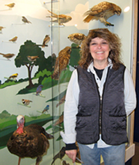 Barbara Knoss at the Bird Alley display