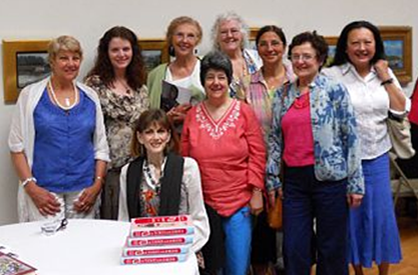 Members of the Cape Cod Branch of the National League of American Pen Women with Norris Church Mailer at the Cape Cod Museum of Art, Photograph courtesy of Stephanie Boosahda