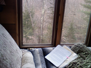 The tree house offers a spectacular view from the futon window seat
