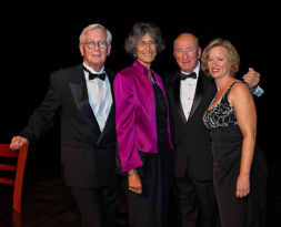 Dick Sullivan flanked by Directors of LCOC (Larry Marsland); Elizabeth Bridgewater (CDP) and Andi Genser at In the Spotlight collaborative Fundraiser, Fall 2010