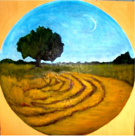 The Labyrinth Walk, oil on panel with acrylic