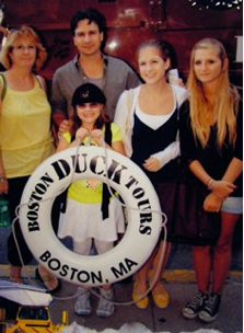 Mariah with her family and their French guest after a Boston Duck Tour adventure: (left to right) mother, father, sister Brianna, Mariah and Marine.